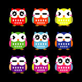 Cute owls set Royalty Free Stock Images