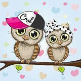 Cute Owls is sitting on a branch. Two Cartoon Cute Owls is sitting on a branch stock illustration