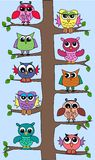 Cute owls in a tree stock illustration