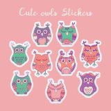 Cute owls vector stickers. Hand drawn lovely birds for labels and tags design Stock Images