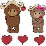 Cute oxen  cartoon love heart set Stock Images