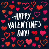 Cute painted hearts valentine card. Valentines day background. Grunge painted hearts set on dark blue background and Happy Valentines Day lettering. Brush Stock Photos