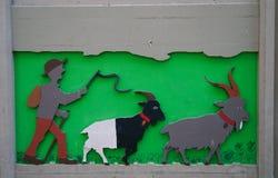 Cute painting on the wall in Zermatt village Stock Photos