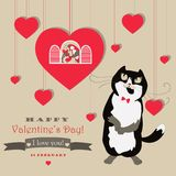 Cute pair of birds and cat celebrating Valentine's. Day.Vector greeting card Royalty Free Stock Images
