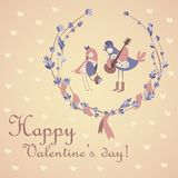 Cute pair of birds celebrating Valentine's Day. Vector greeting card Stock Images