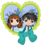 Cute pair in heart Royalty Free Stock Photo