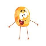 Cute pancake character, cartoon funny dessert vector Illustration Stock Images