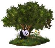 Cute Panda. A cute panda bear sits in a meadow under a tree Royalty Free Stock Images