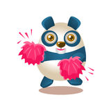 Cute Panda Activity Illustration With Humanized Cartoon Bear Character Cheerleading With Pink Pompoms Royalty Free Stock Images