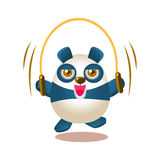 Cute Panda Activity Illustration With Humanized Cartoon Bear Character Jumping On Skipping Rope. Funny Animal In Fantastic Situation Vector Emoji Drawing Stock Photos