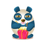Cute Panda Activity Illustration With Humanized Cartoon Bear Character Opening A Present Stock Photography