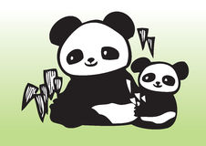 Cute panda with baby vector illustration