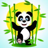 Cute panda among the bamboo branches.Vector illustration. A cute happy panda bear smiles broadly striding among the bamboo branches against the background of the Royalty Free Stock Photo