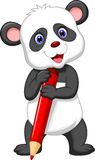 Cute panda bear cartoon holding red pencil Royalty Free Stock Image