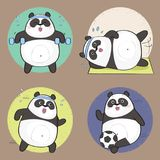 Cartoon Panda. Cute Panda Bear Character. Fitness set. Vector illustration Royalty Free Stock Images