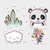 Cute panda bear doodle cartoon. Vector illustration graphic design Royalty Free Stock Photography