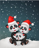 Cute panda bear family Stock Image