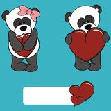 Cute panda bear girl and boy cartoon Stock Photography