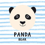 Cute panda bear head with kids style text. Stock Photo