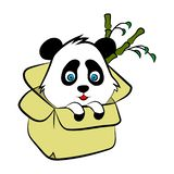 Cute Panda bear illustration, simple style card, poster vector illustration