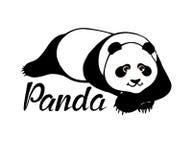 Cute panda bear lying. Original hand drawn illustration stock illustration