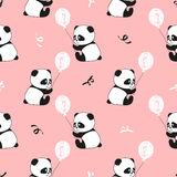 Cute panda bears and balloons seamless pattern. Vector kids background Stock Images