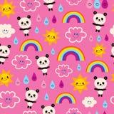 Cute panda bears rain drops rainbows clouds pattern. Cute panda bears rain drops rainbows and clouds seamless pattern Royalty Free Stock Image