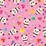 Cute panda bears seamless pattern. Cute baby panda bears, hearts and flowers seamless pattern Royalty Free Stock Photo