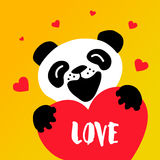 Cute panda and big red heart on yellow background. Happy Valentine`s day card. Stock Photo