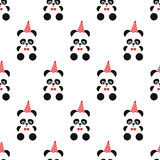 Cute panda and birthday cap seamless pattern on white background. Design for print on baby`s clothes, textile, wallpaper, fabric. Vector background with Royalty Free Stock Photos