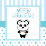 Cute panda on blue frame  cartoon, Xmas postcard, wallpaper, and greeting card Stock Images