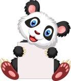 Cute panda cartoon holding blank sign Stock Photos