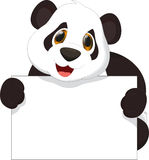 Cute panda cartoon holding blank sign. Illustration of cute panda cartoon holding blank sign   on white Royalty Free Stock Image