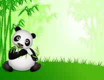 Cute panda cartoon in the nature. Cute panda cartoon in the bamboo forest Royalty Free Stock Image
