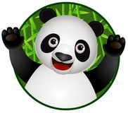Cute panda cartoon in the nature Royalty Free Stock Photo