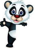 Cute panda cartoon posing with blank sign Royalty Free Stock Photo