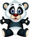 Cute panda cartoon posing Royalty Free Stock Images