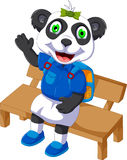 Cute panda cartoon sitting on a chair Stock Images