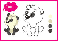 Cute panda. Cartoon vector character  on a white background with black outline. elements for kid coloring book Stock Photography