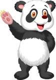 Cute panda cartoon waving hand Stock Images