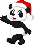 Cute panda cartoon wearing red hat waving hand Royalty Free Stock Images