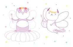 Cute panda and cat flower fairies Stock Photos