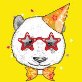 Cute panda in a celebratory cap and funny glasses. Vector illustration. Postcard or poster, print on clothes. A party. Stock Photo