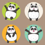 Cute Panda Character with different emotions. Happiness Royalty Free Stock Photos