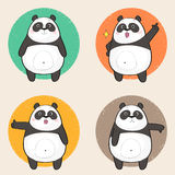 Cute Panda Character with different emotions Royalty Free Stock Images