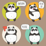 Cute Panda Character with different emotions. vector illustration
