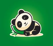 Cute panda character sleeping on a pillow stock illustration