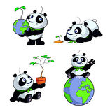 Cute panda earth green eco vector set Stock Image
