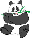 Cute panda eating bamboo stock illustration