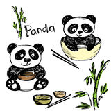 Cute panda eating ,bamboo, chopsticks, hand drawing Stock Photos